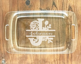 Personalized Pyrex w Lid - Etched Baking Casserole Dish (9x13 & 8x8 set) - Never Lose An Engraved Tupperware Glassware Dish Again