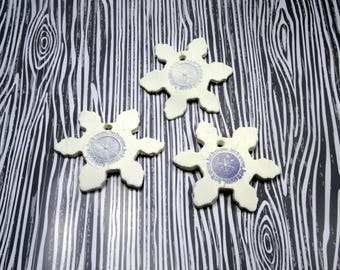 Let it Snow Ornament | White Snowflake Salt Dough Ornament with Blue Design | Handmade Holiday Ornament | Snowflake Clay Gift Tag