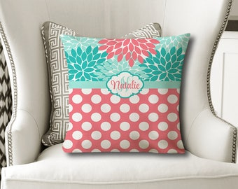 Coral Turquoise PILLOW, Floral Nursery Decor, Baby Girl Shower, Girl Name Pillow, Christmas Sister Gift, MONOGRAM Cover or with Insert