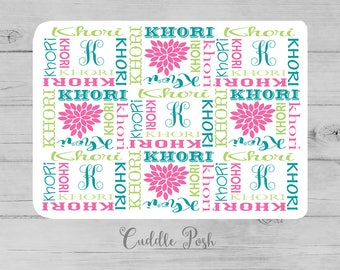 Baby Girl Name Blanket, Swaddle Initial Blanket, Pink Turquoise Lime Floral Blanket Pillow Set, Personalized Nursery -Newborn Shower Gift