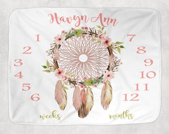 Baby Girl Milestone Blanket, Dreamcatcher Floral Newborn Photography Backdrop -Month Growth Chart Quilt-Personalized Tribal Shower Gift