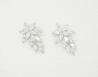 Blossom Cubic Zirconia Earrings - Silver CZ Stud Earrings, Crystal Earrings, Bridesmaid Earrings, Bridal Earrings, Wedding Earrings, Jewelry