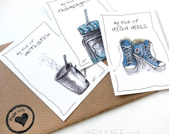 Set 3x statement cards, postcard, illustration, decoration, painting, wall, interior, chucks, smoothie, coffee