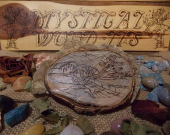 "4.5"" Natural Wood, Rustic Farm, Woodburned, Pyrography, Magnet"