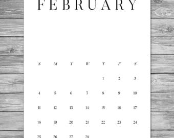 2018 2019 Printable Minimalist Monthly Calendar, Desk Calendar, Wall  Calendar, Calendar Template,