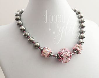 Rose and Gunmetal Beaded Bead Necklace | Handmade Jewelry