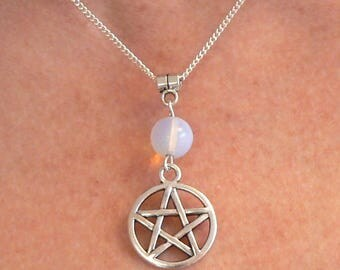 Pentacle & Moonstone Necklace Moon Goddess Pagan Wicca Healing Pentagram Silver Plated Chain