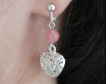 Rose Quartz and Silver Plated Puff Heart Earrings No Piercings Needed Screw Adjustable Clip-on Valentines Gift