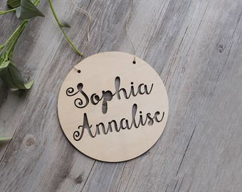 wooden custom sign, custom painted sign, wooden sign, wood plaque, custom gift,Personalized Wooden wall decor with Name round