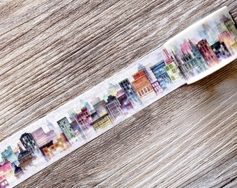 city washi tape,Gog City Washi Tape,watercolor washi tape,City in the Fog,country washi tape