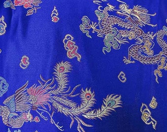 """55"""" wide Royal Blue with Dragon Chinese brocade shiny satin fabric faux silk material embroidered by the YARD, Yards Meters br 170"""
