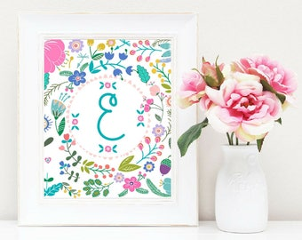 Baby Girl Name Monogram Printable Personalized Prints Beautiful Watercolor Floral Initials Baby Shower Nursery Decor Family Wall Art