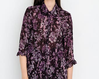VINTAGE Purple Floral See Through Long Sleeve Retro Shirt