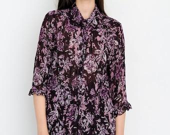 VINTAGE Purple Floral See Through Long Sleeve Retro Shirt
