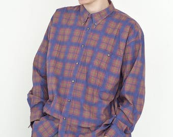 VINTAGE Pink Blue Mixed Checked Long Sleeve Button Downs Retro Shirt