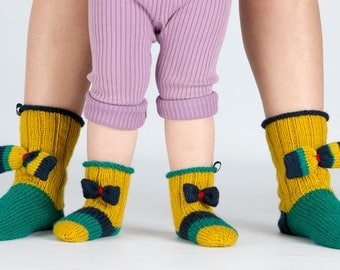 Two pairs of stockings for mom and her daughter Wool knit socks Knitted socks Knit wool socks  Winter knit socks Knitted slippers