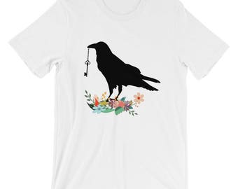Crow On The Ground With Hanging Key Short-Sleeve Unisex T-Shirt
