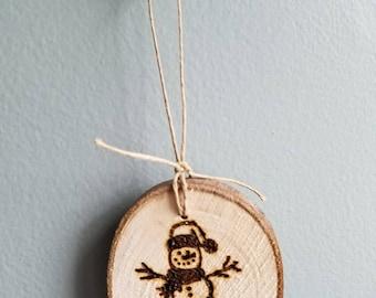 Hand cut, wood burned ornament