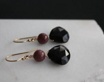 Dangle Earrings l Black Spinel Earrings l Gold Filled Earrings I Black Earrings l Spinel and Lepidolite Earrings