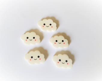 24mm cloud flatbacks, Cloud flatbacks, Resin clouds, Resin flatbacks, Resin embellishments, Scrapbooking, Flatbacks, Clouds, Kawaii, Cute