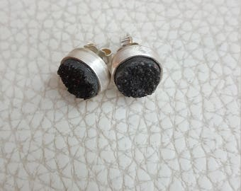 Earrings silver and agate
