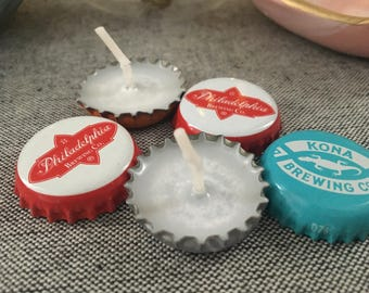 Recycled Beer Bottle Cap Tea Lights, Set of 6, Beer Party Favors, Beer Cap Candle, Beer Gift Party Favors, Beer Wedding Favors, Craft Beer