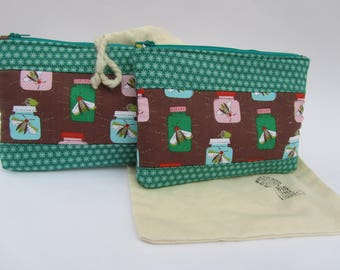 Quilted Zipper Pouch Set Lightning Bugs
