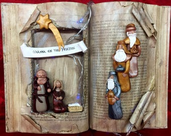 CHRISTMAS MANGER SCENE in Vintage Book - Polymer clay - Made to order - Handmade