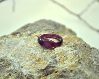 Purple glass finger ring. Reenactment jewelry. Violet glass ring. Byzantium glass ring.  Roman glass ring. Historical ring