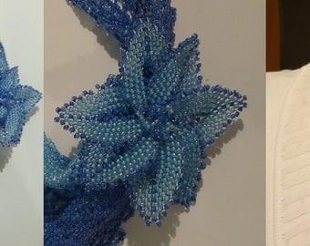 "Ocean blue flowered ""bandana"" necklace"