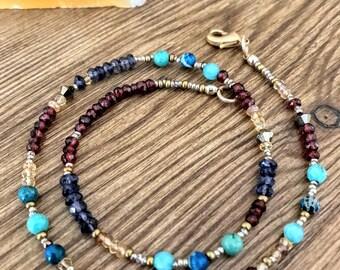 Beaded Wrap Bracelet, Beaded Choker Necklace, Gemstone Necklace Bracelet, Dainty Boho Wrap Bracelet, Boho Bracelet, Boho Choker Necklace