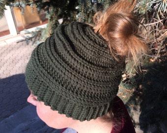 Messy Bun Hat, Messy Bun Beanie, Ponytail Hat, Top Knot Beanie, Bun Hat