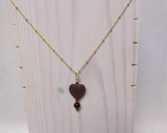 Essential Oil Diffuser Necklace with a Brown Heart Lava Rock, Tiger Eye and Crystal Accents