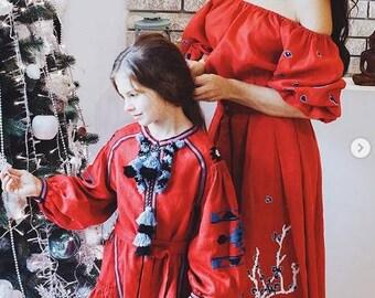 Vyshyvanka Girl's Dress Boho Ukrainian Embroidery Ukraine Dresses Custom boho clothing Red Linen Vishivanka Bohemian Clothing Gift