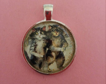 Cats glass pendant necklace with silver chain