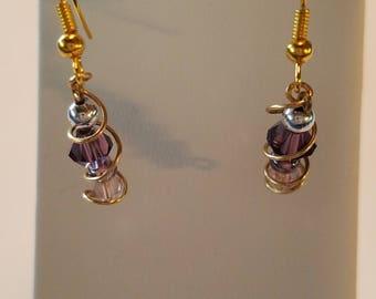 Small Dangle Swirly Gold Earrings