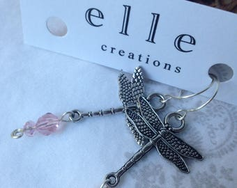 Dragonfly Dangle Earrings with pink glass beads, silver wire.