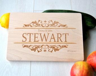 Personalized Monogram Cutting Board Custom Wedding Gift, Engraved Wood Cutting Board Housewarming Personalized Wedding Anniversary Gift