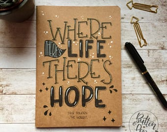 Sketchbook kraft eco with quote applied by hand