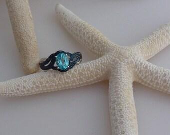 Paraiba Apatite (1.35 Ct), Blue Diamond Ring