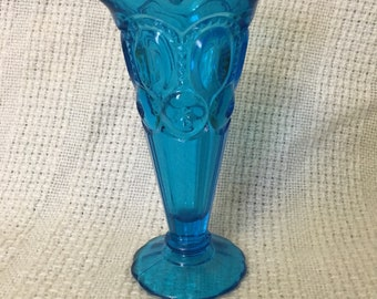 Bud vase Colonial blue moon and stars glass vintage L.E. Le Smith Footed Ruffled Vase