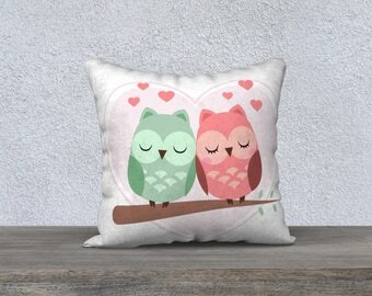 Green OWL decorative pillow cover and Pink for children and baby soft fabric