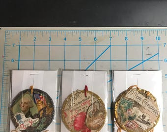 Six Old Paper Christmas Gift Tags