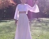 Bohemian hippy wedding dress - Beach wedding gown -Lace skirt - Boho chic crop top -Romantic wedding long skirt
