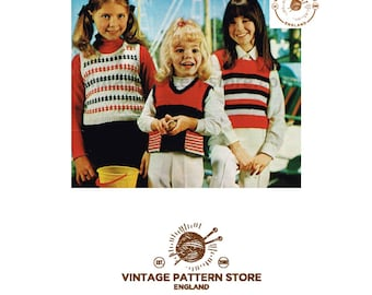 "Girls, 1980s, 3 colour, sweater vest, 3 designs, fair isle, striped and geometric - 24"" - 34"" - Vintage PDF Knitting Pattern 386"