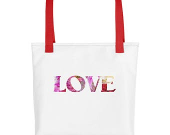Love Tote Bag, Flower Petals Heart, With Saying, Floral Spring, White Unique Strong Washable Market, Shopping, Casual, Girls Women Overnight