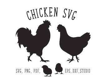 Chicken SVG Cut File, SVG cut file rooster hen dxf Cricut svg Silhouette svg Cricut cut file Silhouette Cameo Hen Silhouette cock SVG studio