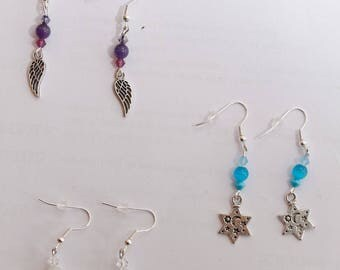Earrings silver stars, witches or wings charms, nickel and lead free