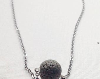 Gray Lava Stone Necklace, Aromatherapy Jewelry, Lava Bead Necklace works with any Essential Oil, Lava rock, Mom Necklace - Gift for wife