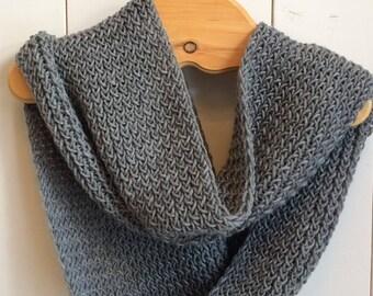 Grey wool infinity scarf